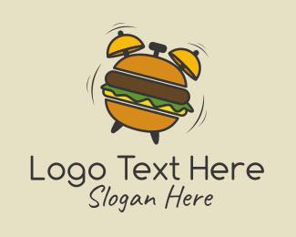 Clock - Hamburger Alarm Clock logo design