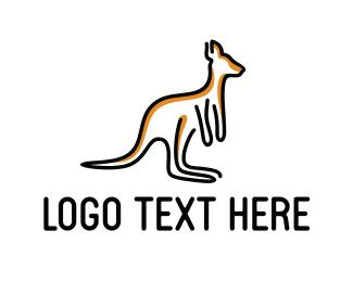 Line Art - Kangaroo Outline logo design