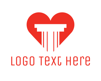 Valentines - Red Heart Pillar logo design