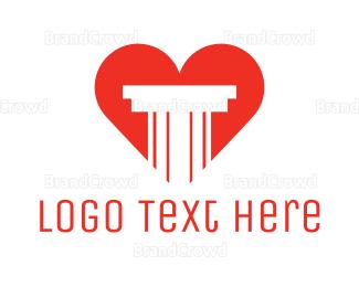 Interior Designer - Red Heart Pillar logo design