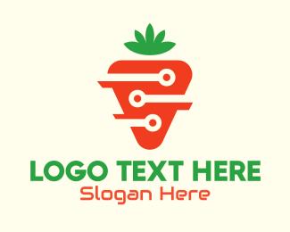 Fruits And Vegetables - Modern Digital Carrot logo design