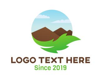 Himalayas - Leaf Mountain Badge logo design