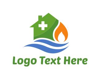Gas - House Repair logo design