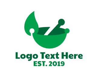 Green Bowl - Modern Leaf Bowl  logo design