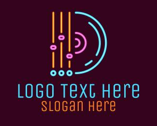Discography - Neon Equalizer & Vynil logo design