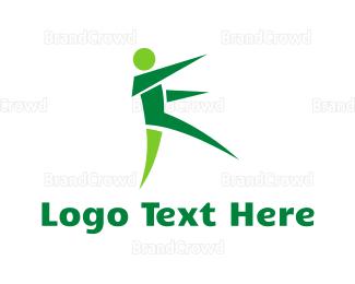 Jump - Origami Green Man logo design