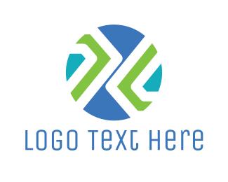 Trucking - Blue Green Modern Circle logo design