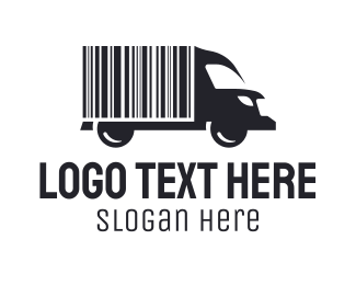 Goods - Barcode Delivery Truck logo design