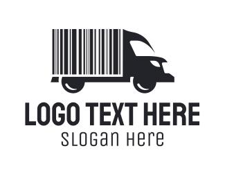 Shipment - Barcode Delivery Truck logo design