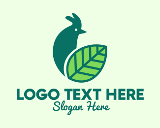 Poultry Farm - Green Organic Rooster logo design