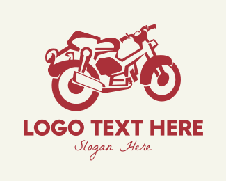 Riding - Red Vintage Motorcycle logo design