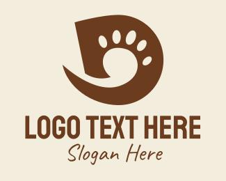 Cat Grooming - Paw Print Letter D logo design