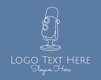 Podcast - White Microphone Monoline logo design
