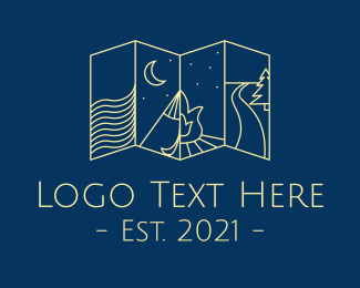 Camp - Minimalist Camping Map logo design