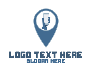 Blue Phone - Smartphone Pin logo design