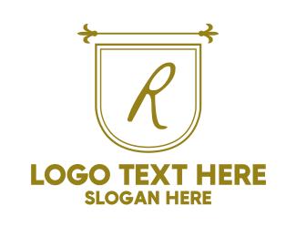 Kingdom - Royal Medieval Letter Flag logo design