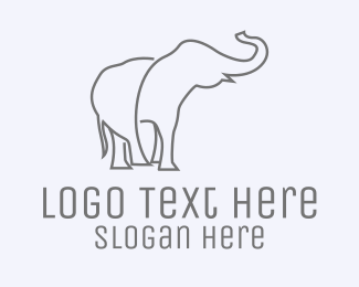 Savanna - Gray Minimalist Elephant  logo design