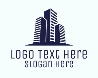 Blue City - Blue Real Estate City logo design