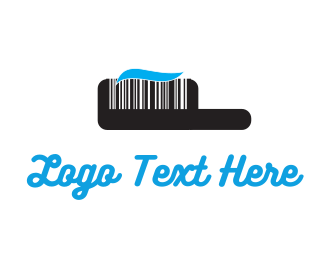 Dental Black Toothbrush Barcode logo design