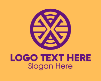 Purple And Yellow - Purple Letter X Circle logo design