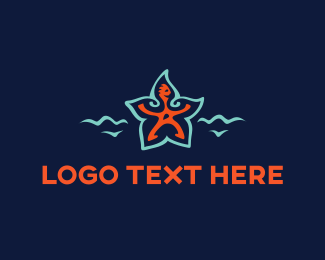 Orange Wave - Starfish Man logo design