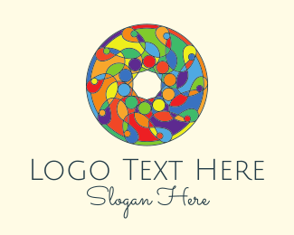 Kaleidoscope - Colorful Round Stained Glass logo design