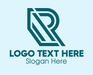 Blue Green - Geometric Letter R  logo design