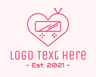 Apps - Pink Heart Gaming Console logo design