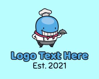 Waiter - Whale Chef Mascot logo design