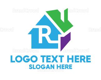 3d - Colorful 3D House R logo design