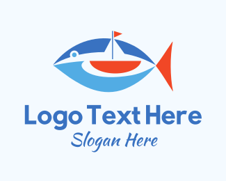 Fishing Boat - Boat Tuna Fish logo design
