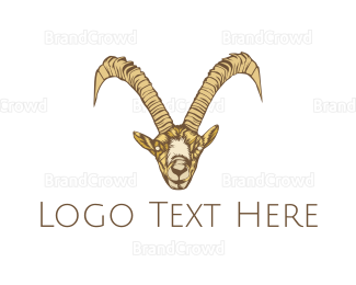 Cattle - Wild Brown Goat logo design
