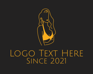 Lingerie Designer - Golden Woman Swimsuit  logo design