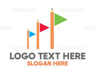 Write - Colorful Flag Pencil logo design