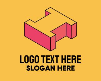 Pop Art - 3D Pixel Letter I logo design