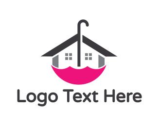 Interior Designer - Pink Umbrella House logo design