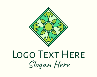 Natural Product - Green Organic Stained Glass logo design