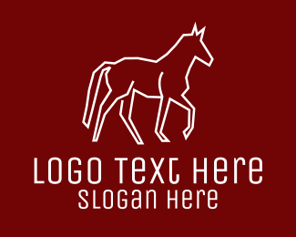 Trojan - White Wild Horse logo design