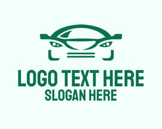 Car - Green Car Face logo design