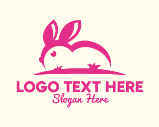 Rabbit Ears - Pink Bunny Ears logo design