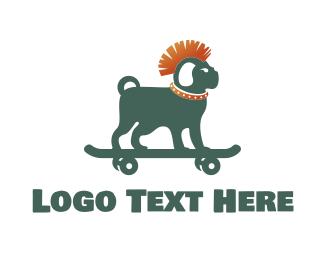 Skate Board - Skateboarding Mohawk Dog logo design