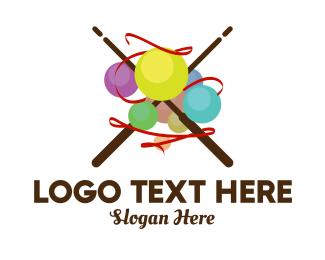 Stick - Knitting Yarn Ball logo design