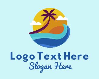 Vacation - Tropical Waves Vacation logo design