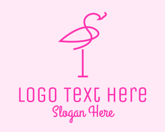 Flamingo - Pink Flamingo Line Art logo design