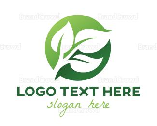 Herbal - Green Leaf Circle logo design