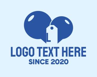 Speech Bubble - Blue Tag Speech Bubble Lettermark logo design