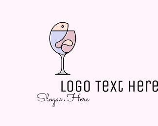 Champagne - Fish & Wine Monoline logo design