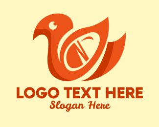Poultry - Abstract Orange Duck logo design