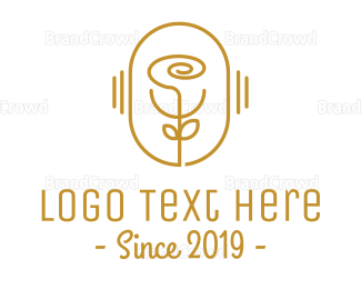 Gardening - Golden Outline Rose logo design