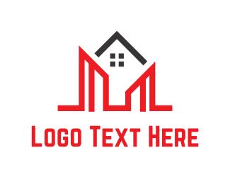 Agency - Red Buildings logo design